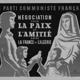 """Affiche """"négociation pour la paix et l'amitié entre la France et l'Algérie"""" PCF _ fonds BDIC"""